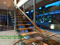 Escalera de Vidrio, Glass stair, Glass Railing, escalera - Construcciones - Miami